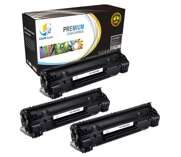 Catch Supplies Replacement HP CB436X High Yield Black Toner Cartridge Laser Printer Toner Cartridges - Three Pack