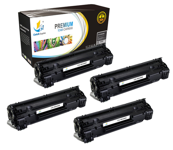 Catch Supplies Replacement HP CB436X High Yield Black Toner Cartridge Laser Printer Toner Cartridges - Four Pack