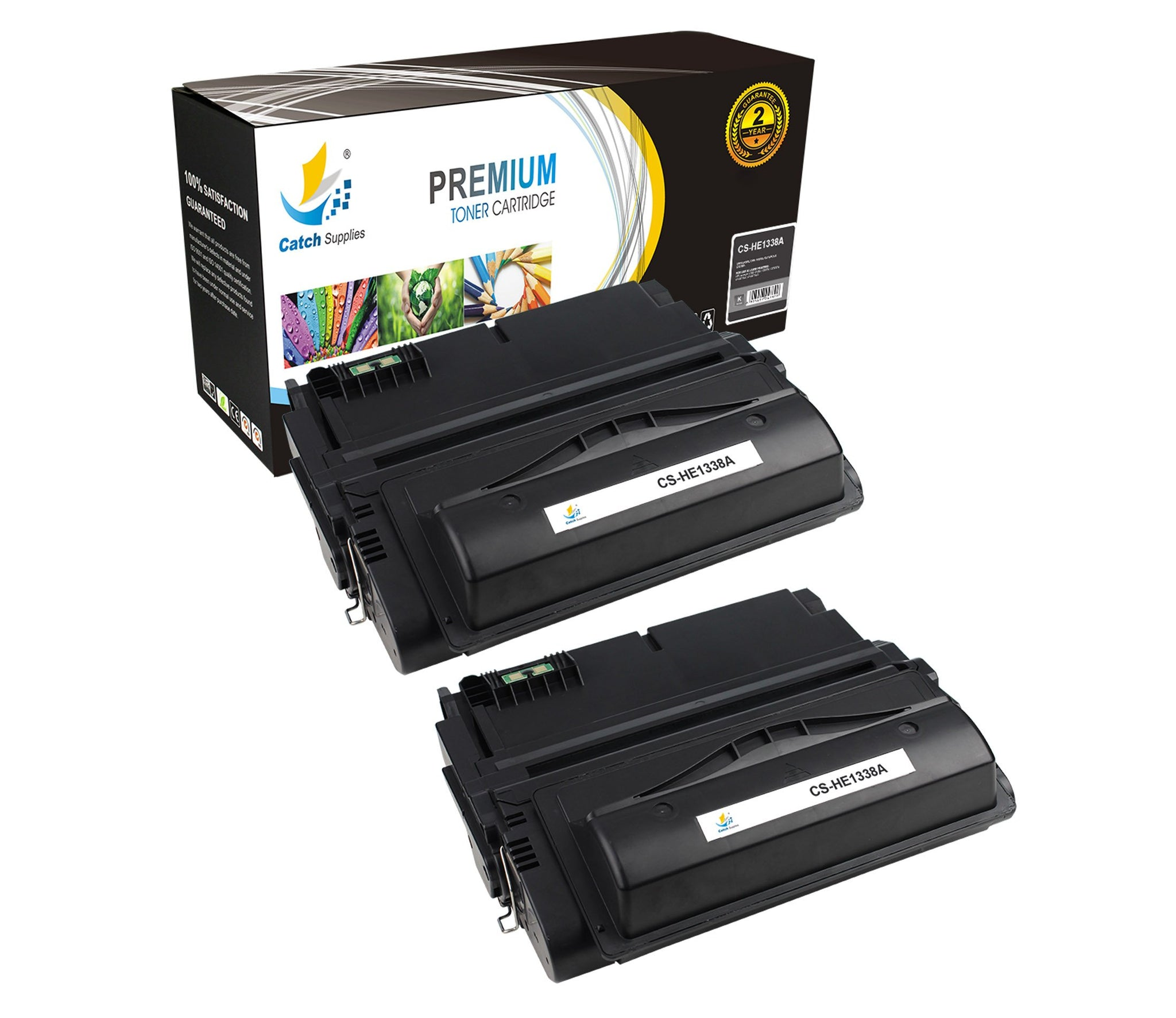 Sale 2pk Hp Q1338a Black Toner Cartridge Catch Supplies 1 2 Pk Standard Replacement Yield Laser Printer Cartridges Two Pack