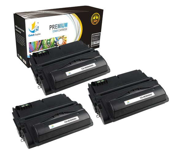 Catch Supplies Replacement HP Q5942A Standard Yield Laser Printer Toner Cartridges - Three Pack
