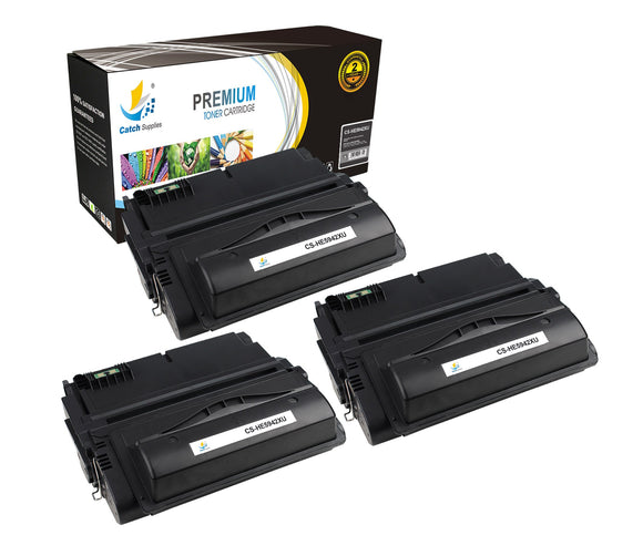 Catch Supplies Replacement HP Q5942X High Yield Black Toner Cartridge Laser Printer Toner Cartridges - Three Pack