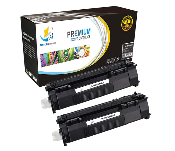 Catch Supplies Replacement HP Q5949A Jumbo Yield Black Toner Cartridge Laser Printer Toner Cartridges - Two Pack