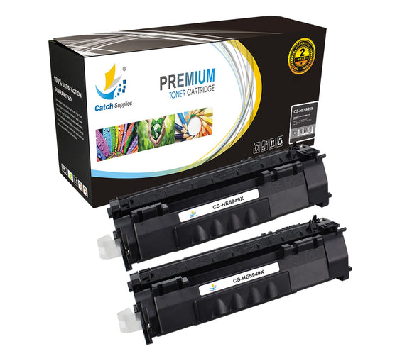 Catch Supplies Replacement HP Q5949X High Yield Black Toner Cartridge Laser Printer Toner Cartridges - Two Pack
