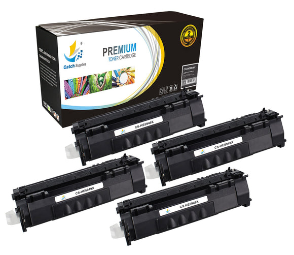 Catch Supplies Replacement HP Q5949X High Yield Black Toner Cartridge Laser Printer Toner Cartridges - Four Pack