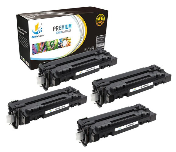 Catch Supplies Replacement HP Q7551X High Yield Black Toner Cartridge Laser Printer Toner Cartridges - Four Pack