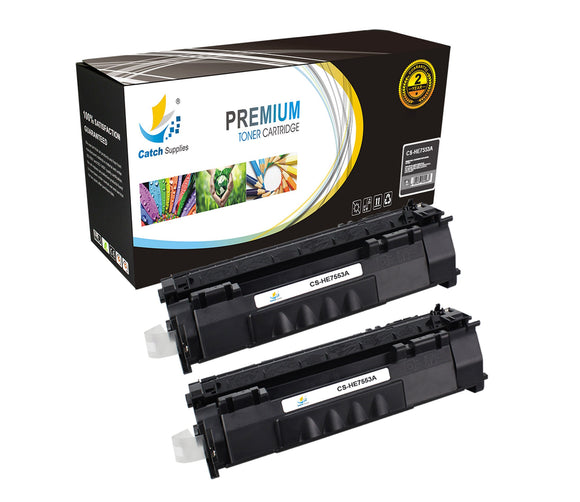 Catch Supplies Replacement Q7553A Black Toner Cartridge 2 Pack