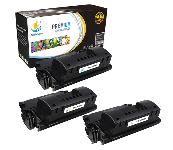 Catch Supplies Replacement HP CC364X High Yield Black Toner Cartridge Laser Printer Toner Cartridges - Three Pack