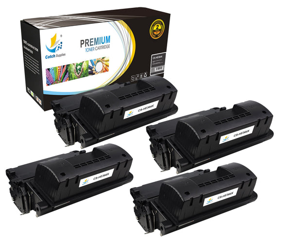 Catch Supplies Replacement HP CC364X High Yield Black Toner Cartridge Laser Printer Toner Cartridges - Four Pack