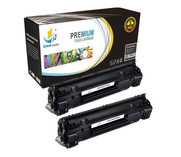 Catch Supplies Replacement HP CE278X High Yield Black Toner Cartridge Laser Printer Toner Cartridges - Two Pack