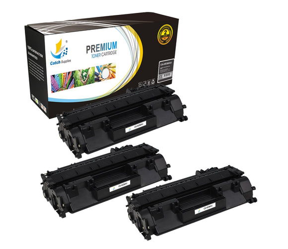 Catch Supplies Replacement CF280A Black Toner Cartridge 3 Pack
