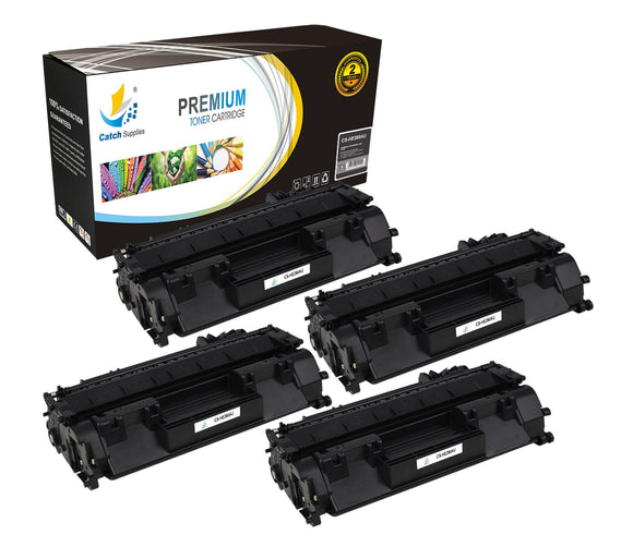 Catch Supplies Replacement HP CF280A Standard Yield Laser Printer Toner Cartridges - Four Pack