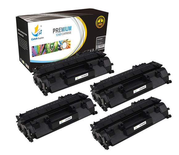 Catch Supplies Replacement HP CF280X High Yield Black Toner Cartridge Laser Printer Toner Cartridges - Four Pack