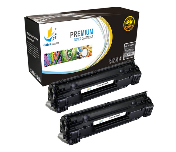 Catch Supplies JUMBO Yield Replacement CF283A Black Toner Cartridge 2 Pack