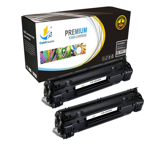 Catch Supplies Replacement HP CF283X High Yield Black Toner Cartridge Laser Printer Toner Cartridges - Two Pack