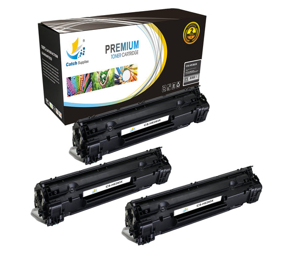 Catch Supplies Replacement CF283X Black Toner Cartridge 3 Pack