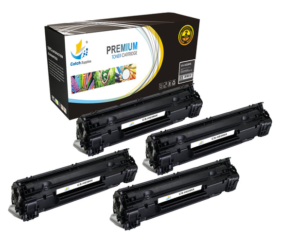 Catch Supplies Replacement HP CE285X High Yield Black Toner Cartridge Laser Printer Toner Cartridges - Four Pack