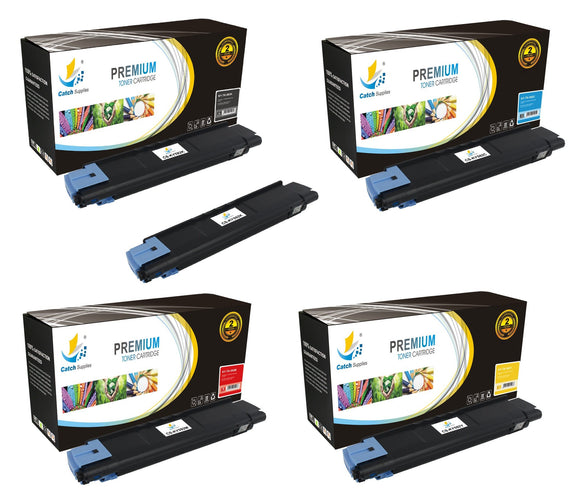 Catch Supplies Replacement Kyocera TK-592K,TK-592C,TK-592M,TK-592Y Standard Yield Laser Printer Toner Cartridges - Five Pack