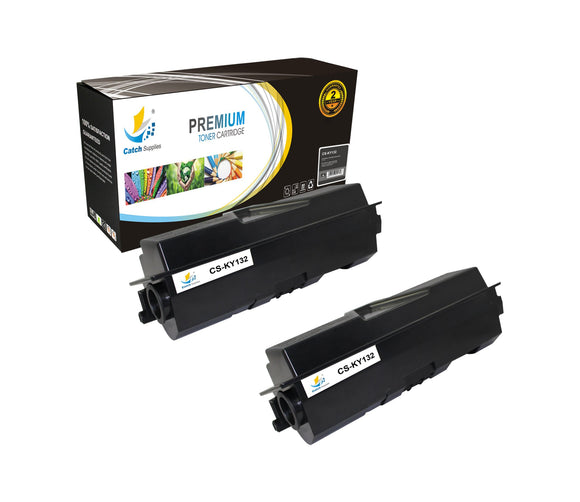 Catch Supplies Replacement Kyocera TK-132 Standard Yield Laser Printer Toner Cartridges - Two Pack