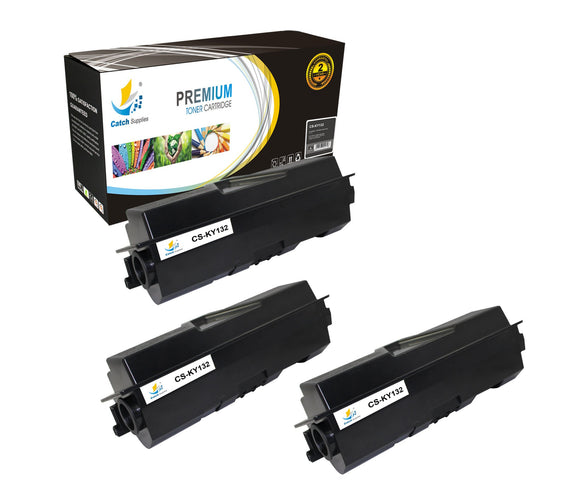 Catch Supplies Replacement TK-132 Black Toner Cartridge 3 Pack