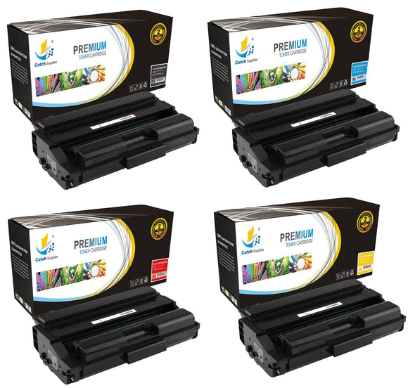 Catch Supplies Replacement Okidata 43459304,43459303,43459302,43459301 Standard Yield Laser Printer Toner Cartridges - Four Pack