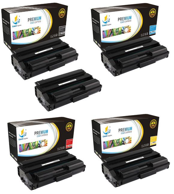Catch Supplies Replacement Okidata 43459304,43459303,43459302,43459301 Standard Yield Laser Printer Toner Cartridges - Five Pack