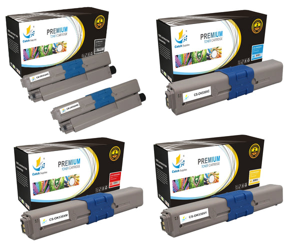 Catch Supplies Replacement Okidata 44469802,44469721,44469720,44469719 Standard Yield Laser Printer Toner Cartridges - Five Pack