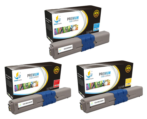 Catch Supplies Replacement Okidata 44469721,44469720,44469719 Standard Yield Laser Printer Toner Cartridges - Three Pack