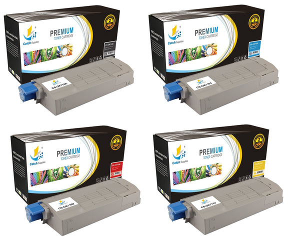 Catch Supplies Replacement Okidata 43,866,104,438,661,000,000,000,000,000,000 Standard Yield Laser Printer Toner Cartridges - Four Pack