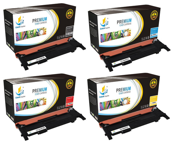 Catch Supplies Replacement Samsung CLT-K407S,CLT-C407S,CLT-M407S,CLT-Y407S Standard Yield Laser Printer Toner Cartridges - Four Pack