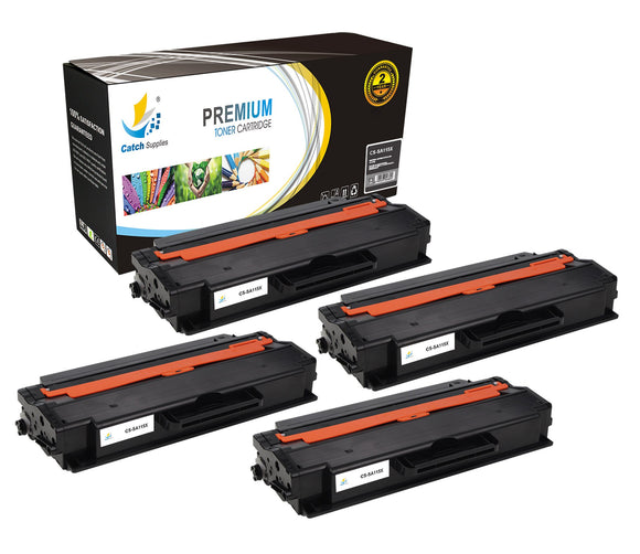 Catch Supplies Replacement Samsung MLT-D115L High Yield Black Toner Cartridge Laser Printer Toner Cartridges - Four Pack