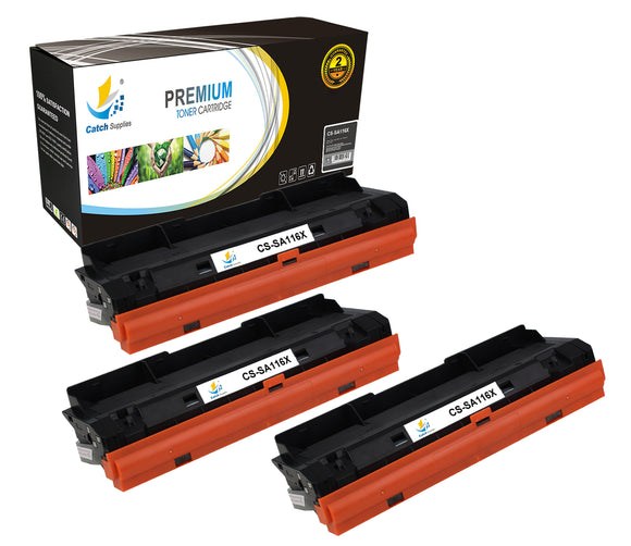 Catch Supplies Replacement Samsung MLT-D116L High Yield Black Toner Cartridge Laser Printer Toner Cartridges - Three Pack