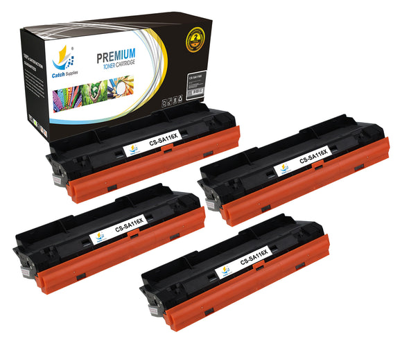 Catch Supplies Replacement Samsung MLT-D116L High Yield Black Toner Cartridge Laser Printer Toner Cartridges - Four Pack
