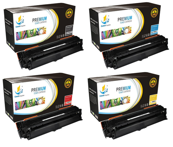 Catch Supplies Replacement HP CE740A,CE741A,CE742A,CE743A Standard Yield Laser Printer Toner Cartridges - Four Pack