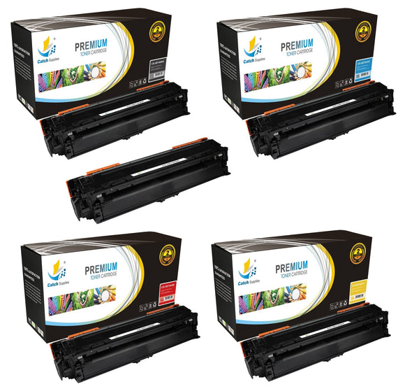 Catch Supplies Replacement HP CE740A,CE741A,CE742A,CE743A Standard Yield Laser Printer Toner Cartridges - Five Pack
