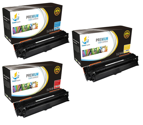 Catch Supplies Replacement HP CE741A,CE742A,CE743A Standard Yield Laser Printer Toner Cartridges - Three Pack