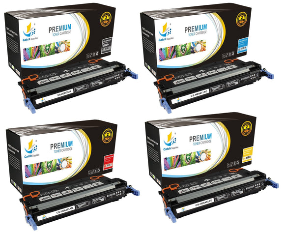Catch Supplies Replacement HP Q6470A,Q6471A,Q6472A,Q6473A Standard Yield Laser Printer Toner Cartridges - Four Pack