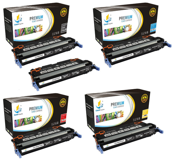 Catch Supplies Replacement HP Q6470A,Q6471A,Q6472A,Q6473A Standard Yield Laser Printer Toner Cartridges - Five Pack