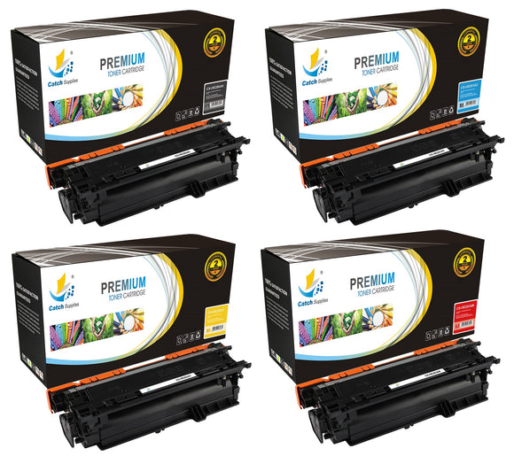 Catch Supplies Replacement HP CE250A,CE251A,CE252A,CE253A Standard Yield Laser Printer Toner Cartridges - Four Pack