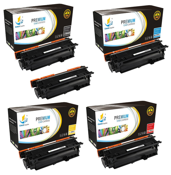 Catch Supplies Replacement HP CE250A,CE251A,CE252A,CE253A Standard Yield Laser Printer Toner Cartridges - Five Pack