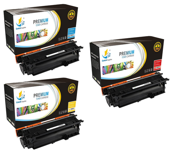 Catch Supplies Replacement HP CE251A,CE252A,CE253A, Standard Yield Laser Printer Toner Cartridges - Three Pack