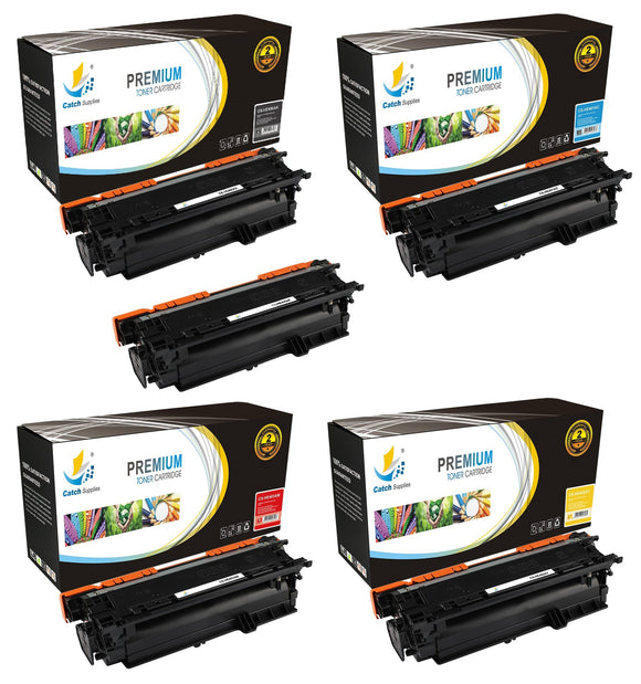Catch Supplies Replacement HP CE400A,CE401A,CE402A,CE403A Standard Yield Laser Printer Toner Cartridges - Five Pack