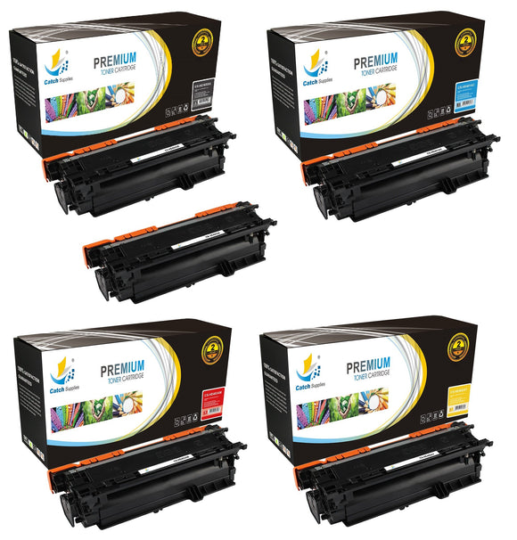 Catch Supplies Replacement HP CE400X,CE401A,CE402A,CE403A High Yield Toner Cartridges Laser Printer Toner Cartridges - Five Pack