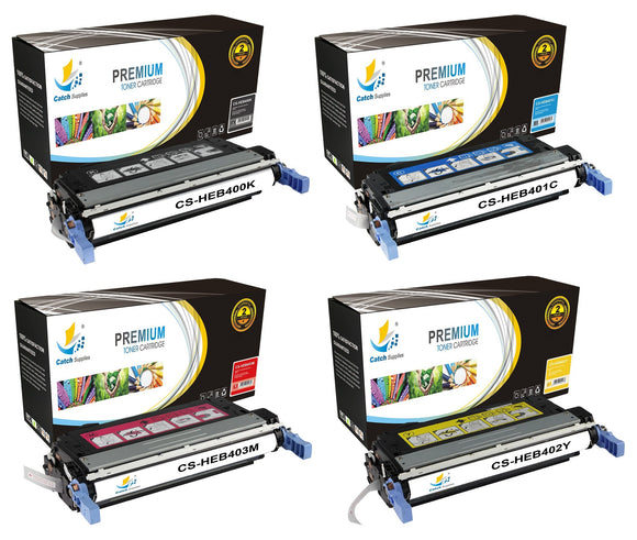 Catch Supplies Replacement HP CB400A,CB401A,CB402A,CB403A Standard Yield Laser Printer Toner Cartridges - Four Pack