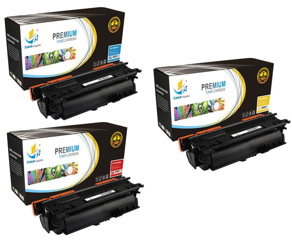 Catch Supplies Replacement HP CF031A,CF032A,CF033A Standard Yield Laser Printer Toner Cartridges - Three Pack