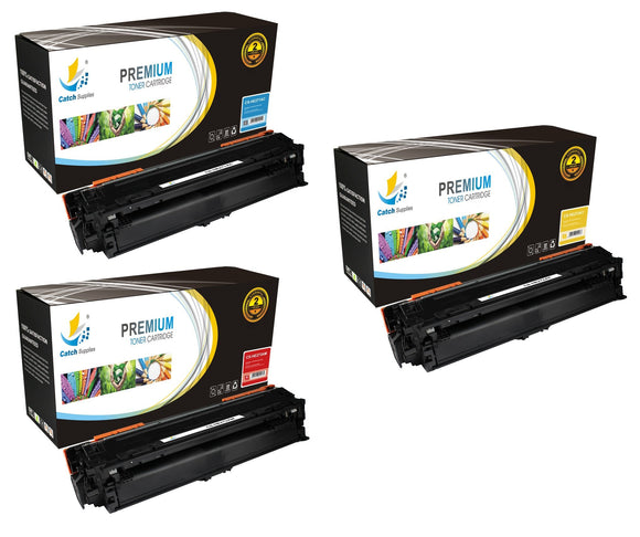 Catch Supplies Replacement HP CE271A,CE272A,CE273A Standard Yield Laser Printer Toner Cartridges - Three Pack