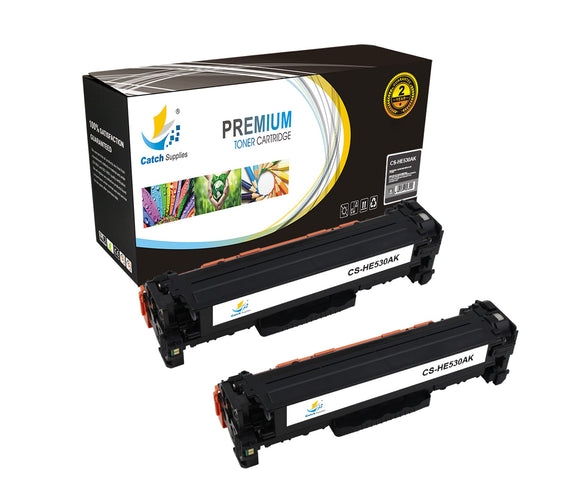 Catch Supplies Replacement CC530A – 304A Black Toner Cartridge 2 Pack Set