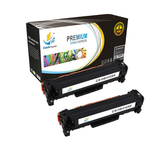 Catch Supplies Replacement HP CE410X High Yield Black Toner Cartridge Laser Printer Toner Cartridges - Two Pack