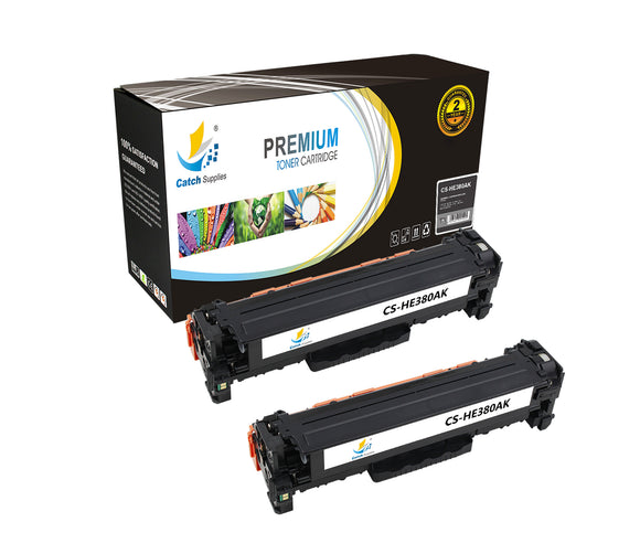 Catch Supplies Replacement HP CF380A Standard Yield Laser Printer Toner Cartridges - Two Pack