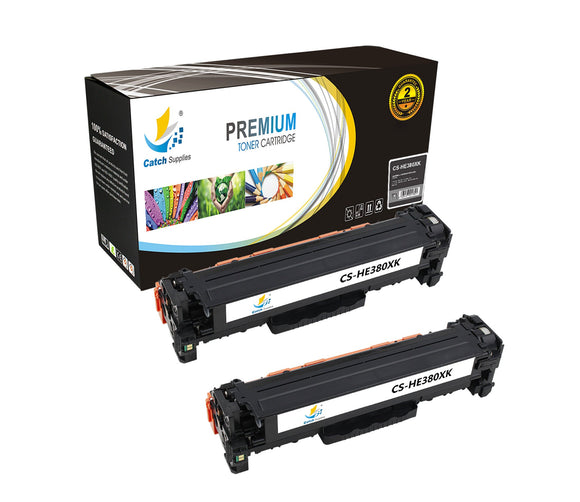 Catch Supplies Replacement HP CF380X High Yield Black Toner Cartridge Laser Printer Toner Cartridges - Two Pack