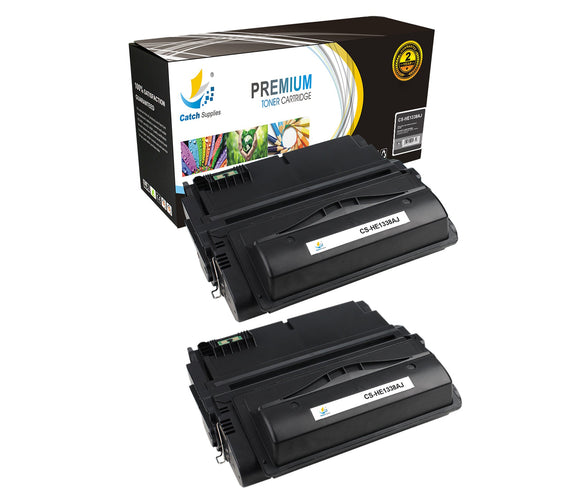 Catch Supplies JUMBO Yield Replacement Q1338A Black Toner Cartridge 2 Pack